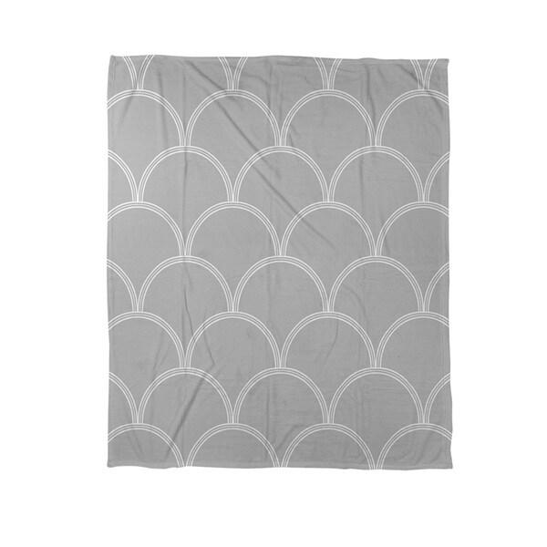 Art Deco Circles Grey/ White Coral Fleece Throw