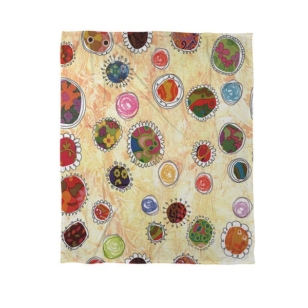 Funky Flowers Coral Fleece Throw