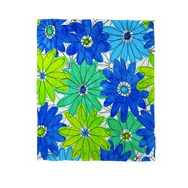 Funky Florals Daisy Royal Blue Coral Fleece Throw
