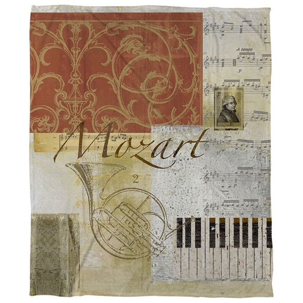 Classic Composers Mozart Coral Fleece Throw