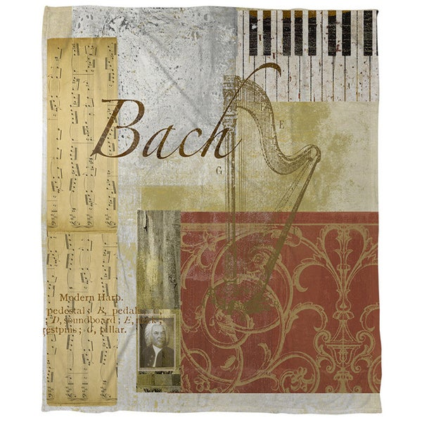Classic Composers Bach Coral Fleece Throw