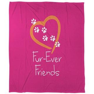 Thumbprintz Forever Friends Pink Coral Fleece Throw