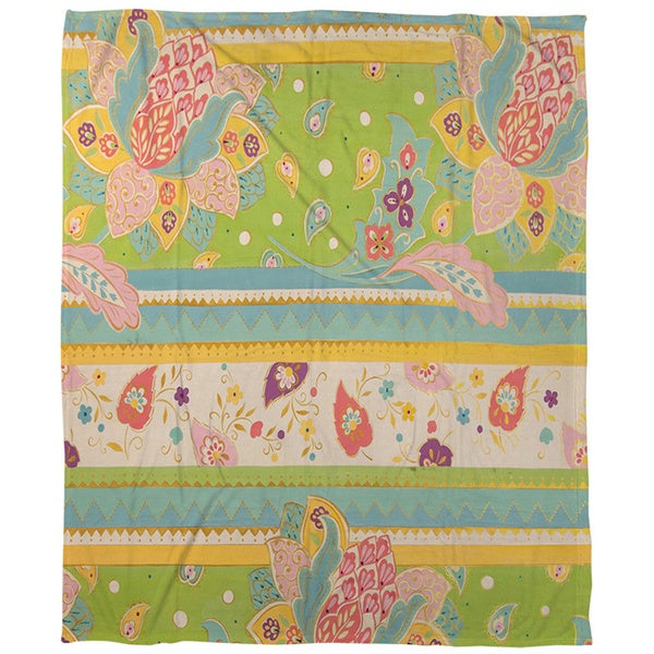 Floral Stipe with Jacobean Coral Fleece Throw
