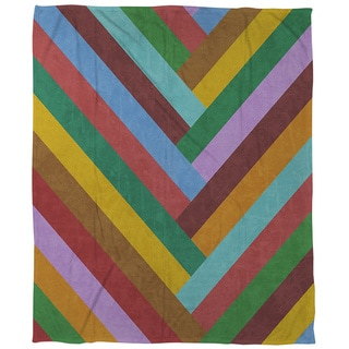Chevron Rainbow Coral Fleece Throw