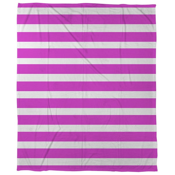 Bright Stripes Pink Coral Fleece Throw