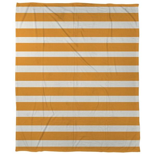Bright Stripes Orange Coral Fleece Throw