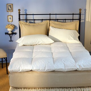 Luxurious Baffle Box 230 Thread Count White Goose Featherbed Queen Size (As Is)