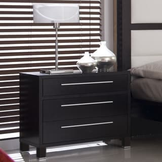 Emma Coffee Finish Sleek 3-drawer Nightstand