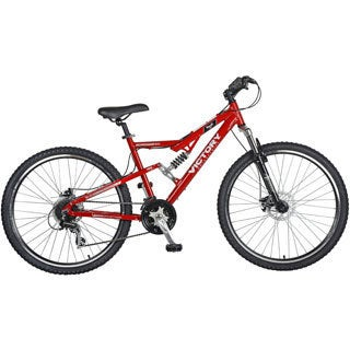 Victory Mens' Red Jackpot 2.0 Full Suspension Mountain Bike with 27.5-inch Wheels and 18-inch Frame