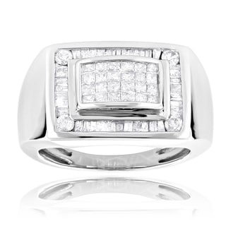 Luxurman 14k Gold Men's 1 2/5ct TDW Princess and Baguette Diamond Ring (H-I, SI1-SI2)