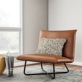 Saddle Brown Pillow Lounge Chair. Leather Living Room Chairs For Less   Overstock com