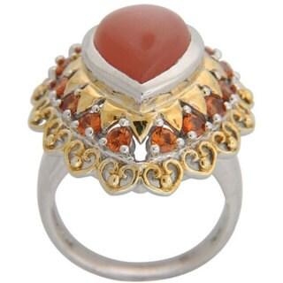 Sterling Silver Peach Moonstone and Hessonite Garnet Ring