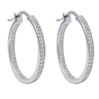 SummerRose 14k White Gold 1/2ct TDW White Diamond Inside-out Hoop Earrings (G-H, SI1-SI2)