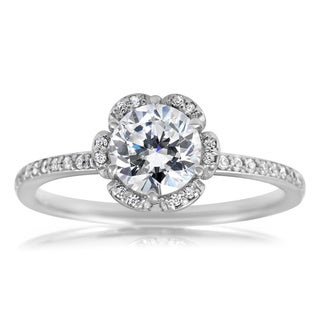 14k White Gold 1 1/ 2ct TDW Vintage Floral Halo Ring (I-J, I2-I3)