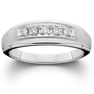 14k White Gold Brushed Finish Men's 1/6ct TDW Wedding Ring (More options available)
