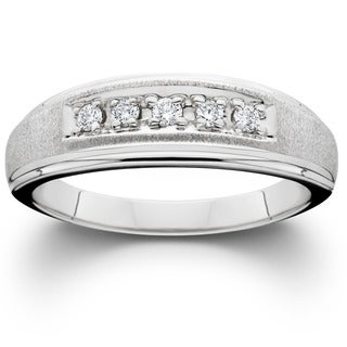 14k White Gold Brushed Finish Men's 1/6ct TDW Wedding Ring