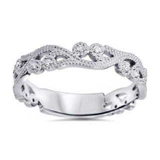 14k White Gold 1/6ct TDW Vintage Scroll Diamond Band