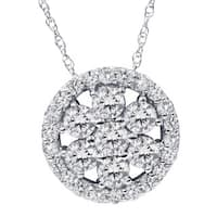 14k White Gold 1 1/5ct TDW Circle Diamond Necklace - White Gold