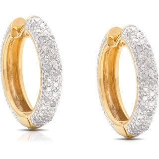 Finesque Yellow Gold Over Sterling Silver 1/4ct TDW Diamond Hoop Earrings