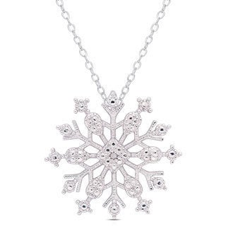 Finesque Silverplated Diamond Accent Snowflake Necklace
