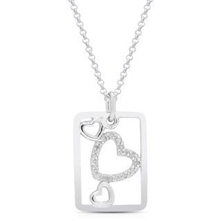 Finesque Sterling Silver 1/6ct TDW White Diamond Heart Necklace