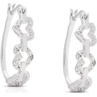 Finesque Silver Overlay Diamond Accent Heart Design Hoop Earrings