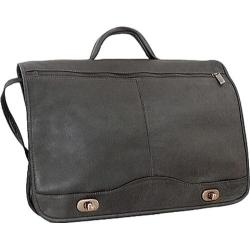 David King Leather 177 Full Flap Over Briefcase Black