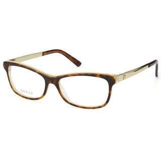 Gucci Unisex Havana and Gold Embossed Plastic Eyeglasses