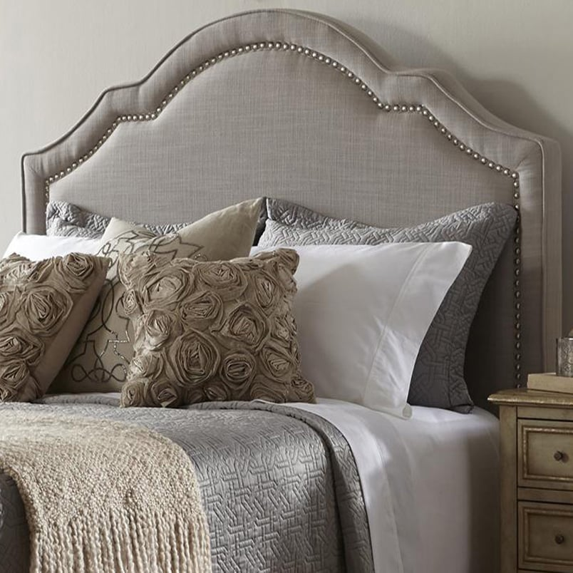 Elegant Taupe (Brown) Queen Size Upholstered Headboard, S...