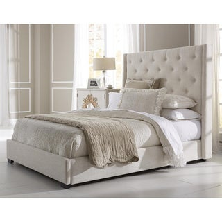 Wingback Button Tufted Cream Upholstered Queen Bed
