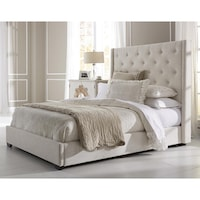 Wingback Button Tufted Cream Queen Size Upholstered Bed