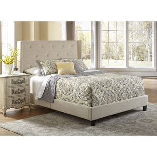 Wingback Button Tufted Stone Grey Queen Size Upholstered Bed