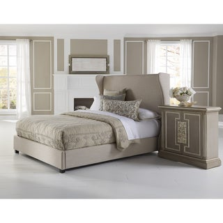 Wingback Cream Queen Size Upholstered Bed
