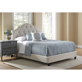 Button Tufted Cream Queen Size Upholstered Bed