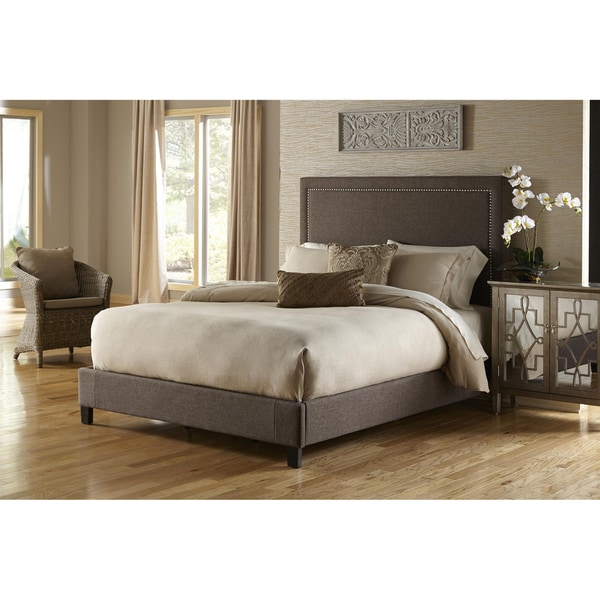 Shop Brown Queen Size Upholstered Bed Overstock 9365630
