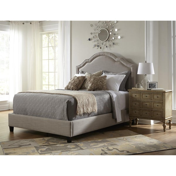 Elegant Taupe Queen Size Upholstered Bed Free Shipping