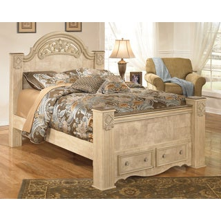 Signature Design by Ashley Saveaha Light Beige Storage Poster Bed