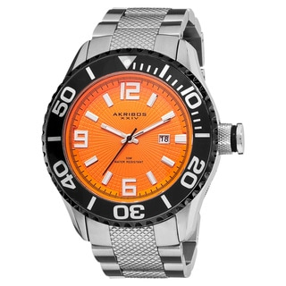 Akribos XXIV Men's Large Diver's Date Stainless Steel Orange Bracelet Watch with Gift Box