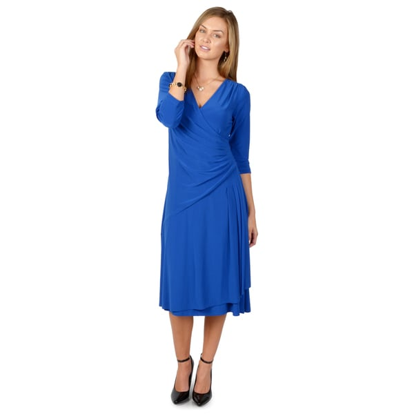 Timeless by Journee Women's Solid Color Wrap Dress