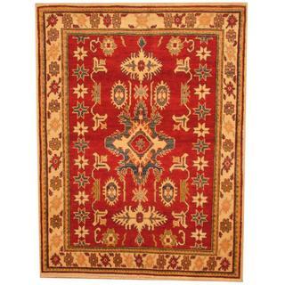 Herat Oriental Afghan Hand-knotted Kazak Red/ Beige Wool Rug (3'10 x 5')