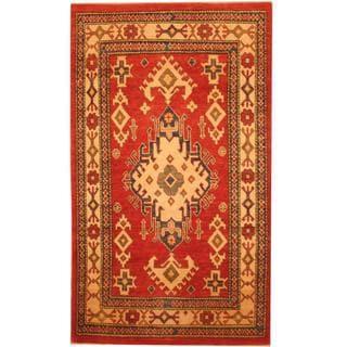 Herat Oriental Afghan Hand-knotted Kazak Red/ Beige Wool Rug (3'5 x 5'9)