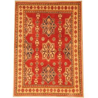 Herat Oriental Afghan Hand-knotted Kazak Red/ Beige Wool Rug (3'8 x 5'1)