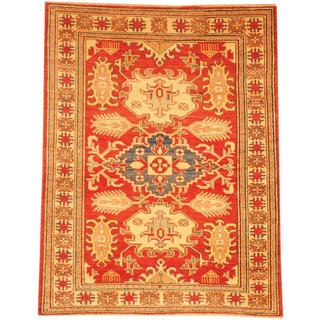 Herat Oriental Afghan Hand-knotted Kazak Red/ Beige Wool Rug (4'2 x 5'9)