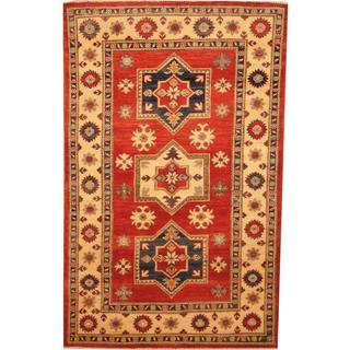 Herat Oriental Afghan Hand-knotted Kazak Red/ Beige Wool Rug (3'9 x 6')