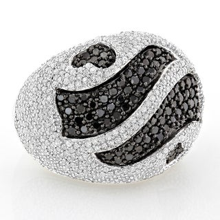 Luxurman 14k White Gold 3 1/2ct TDW Black and White Pave Diamond Ring