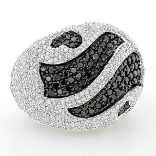 Luxurman 14k White Gold 3 1/2ct TDW Black and White Pave Diamond Ring