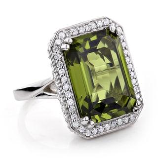 14k Gold 13ct TGW Peridot and 1 3/4ct TDW Diamond Cocktail Ring (G-H, VS1-VS2)