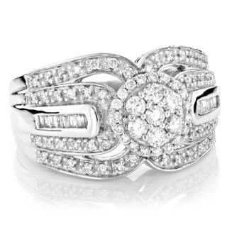Luxurman 14k Gold 1 1/5ct TDW White Diamond Ring
