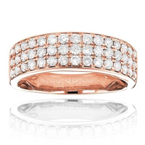 Luxurman 14k Gold 1 1/3ct TDW 3-row White Diamond Fashion Ring