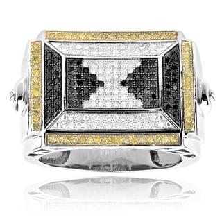 Sterling Silver 7/8ct TDW Multi-color Diamond Pyramid Men's Ring (H-I, SI1-SI2)